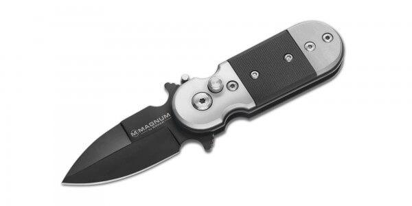 Taschenmesser, Schwarz, Druckknopf, Button Lock, 440A, G10