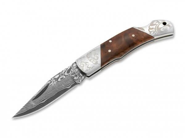 Taschenmesser, Braun, Nagelhau, Backlock, Damast, Holz