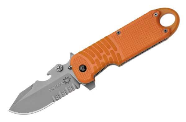 Taschenmesser, Orange, Flipper, Linerlock, N690, Kunststoff