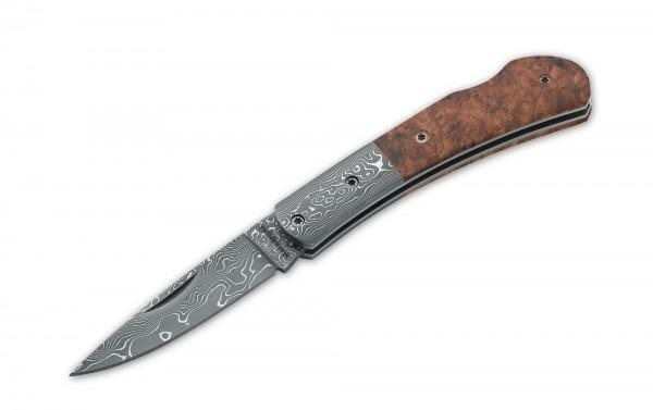 Taschenmesser, Nagelhau, Backlock, Damast, Holz
