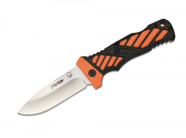 Taschenmesser, Orange, Daumenpin, Backlock, 8Cr13MoV, Kunststoff